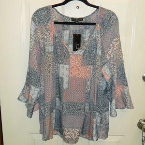 Multi colored peasant blouse